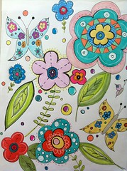 Flower Power (born 2 b creative) Tags: flower art paper sketch colorful drawing journal doodle page pens copic 2012 artjournal creations journalpage