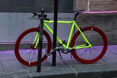 Neon Bike (Toni Kaarttinen) Tags: paris france bike bicycle night lights evening frankreich neon darkness frana frankrijk prizs marais francia