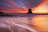 The Lone Stack (Willie Huang Photo) Tags: ocean sunset santacruz seascape beach nature landscape coast sand waves pacific scenic bayarea davenport californiacoast davenportbeach