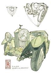 "Une Rolls à la sauce ""Lapin"" (gerard michel) Tags: auto portugal car museum sketch aquarelle perspective watercolour rolls caramulo croquis"