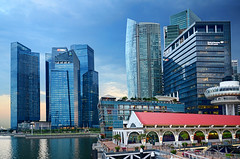 Financial District at Marina Bay... (williamcho) Tags: architecture singapore restaurants banks offices centralbusinessdistrict marinabay olétusfotos topazlabadjust marinabayfinancialcentre ©williamcho cliffordpierhotels