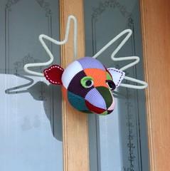 Bucky the Stuffed Moose Head (laughingpurplegoldfish) Tags: stuffed head moose taxidermy faux knitted