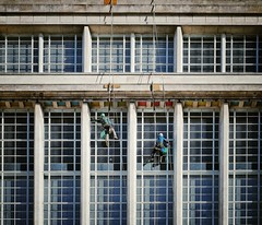 Untitled (jrsisson) Tags: nottingham uk england building window university britain great cleaners rope trent nottinghamshire newton abseil