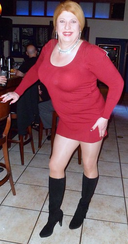 e5e8bc1d9e Black Suede Leather Back Zip Calvin Kline BOOTS with my Red mini sweater  dress