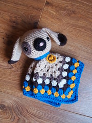 Puppy Security Blanket (ham_and_eggs) Tags: blue dog baby brown square toy handmade crochet tan craft security yarn gift blanket granny amigurumi lovey