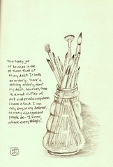 jar of brushes (sarabeee) Tags: stilllife pencil sketch drawing brushes