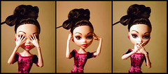 See no evil. Hear no evil. Speak no evil. (I'm a raindrop) Tags: pink black fashion monster hair toy toys see high hands doll dolls vampire speaknoevil seenoevil barbie evil before hearnoevil plastic bow fashiondoll bun mattel hear sepak scaris wiseapes monsterhigh draculaura