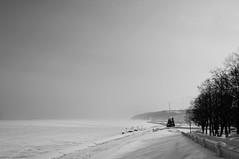 The Volga embankment. Cheboksary (Sergey Ustinov) Tags: winter blackandwhite snow river landscape embankment volga bwphotography cheboksary