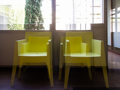 One place, different times. #3 (franleru1) Tags: architecture art dtaildarchitecture effets france marseille objet waiting room design chairs yellow colorblock 1x1