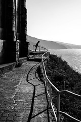 Ermita de San Juan de Gaztelugatxe (valdesmarta) Tags: bw blackandwhite euskadi north kid portrait shadow highlight silueta gaztelugatxe cliffs seaside views cantabrico mar