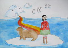 Fanny and Her Walrus Friend Petunia Travel the Rainbow Road (Fauna Finds Flora) Tags: walrus ice penguin arctic igloos iceberg coat rainbow animal mammal bird home house colorful art illustration painting weird whimsical story narrative seal character nature faunafindsflora