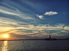 View of Lady Liberty from SI Ferry (kathleenheaney) Tags: harbor ocean statenisland nyc statueofliberty statue sunset