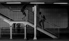 Metro Denfert-Rochereau (Lens a Lot) Tags: metro denfertrochereau paris | 2016 carl zeiss jena flektogon red mc electric 35mm 24 1976 6 blades iris m42 f4 black white street photography stairs vintage manual german east ddr germany prime fixed lens light station gate