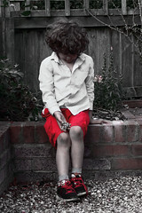 The Naughty Corner (raven fandango) Tags: naughty corner child children portrait young boy red filtered canon eos 70d england hertfordshire herts colour splash august uk