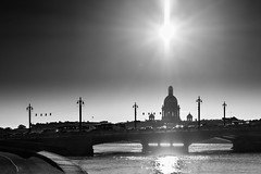 Shining star (Suicidal_zombie) Tags: russia russie saintpetersburg stpetersburg stisaacscathedral stisaaccathedral cathedral ortodoxy neva bigneva river water morning sunny sun beautiful blagoveschenskiy bridge bw monochrome monotone dramatic