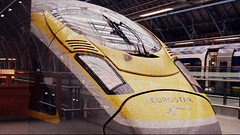 Insect Repellent (dhcomet) Tags: london stpancras international station train railway eurostar birdstrike bloodsplattered insect yellow