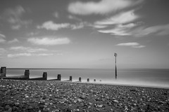 Marker in the waves (jase411) Tags: pettlevel beach longexposure blackandwhite clouds groin