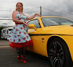 Ange L'Que_8819 (Fast an' Bulbous) Tags: nylons stockings stilettos high heels dress car vehicle american classic oldtimer girl woman hot sexy milf mature