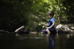Splashes in the Creek (Phillip Haumesser Photography) Tags: boy kid child water splashes splash fun nature green phillip haumesser