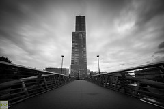 frozen time (Double.D - Photography) Tags: highrise hochhaus brcke bridge mediapark cologne kln kontrast canon canon600d clouds wolken black blackwhite white dark laterne sigma 1750mm explore doubled outdoor outside city stadt architecture architektur