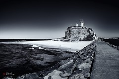 Nobbys Head. (Bill Thoo) Tags: nobbyshead newcastle nsw australia landscape monochrome blackandwhite coast beach lighthouse breakwater pacificocean travel ngc sony a7rii samyang 14mm ocean