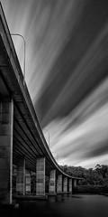 Roseville Lines (Rodney Campbell) Tags: longexposure nd09 monochrome bigstopper water cpl sky roseville bridge clouds