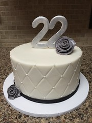 Black and White 22nd Birthday Cake (dms81) Tags: gumpaste fondant roses silverroses buttercream quilted gray grey white black blackandwhite silver cake birthday 22 22ndbirthdaycake