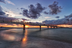 Baltic Sunset (chrocoflo) Tags: landscape seascape beach waves sun sunset clouds sony alpha emount a7 ilce7 ilce7m2 available light long exposure seebrcke zingst germany europe manual samyang 14mm pier