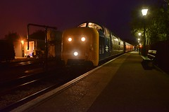 Deltic Locomotive 55019 waits to take the last train of the evening out of North Weald, to Epping. Epping Ongar Railway. 17 09 2016 (pnb511) Tags: northwealdstation eppingongarrailway trains heritage railway engine diesels train loco locomotive class55 diesel night time station lights autumndieselgala