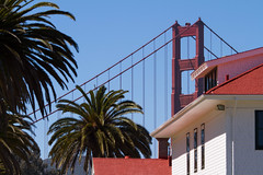 Perfect position (Michael Dunn~!) Tags: bridge goldengatebridge marinadistrict palmtrees photowalking photowalking20130414 sanfrancisco sky suspensionbridge trees