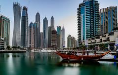 Dubai Marina (Aleem Yousaf) Tags: ilobsterit dubai marina skyscrapers waterfront boats morning light nikon d800 1835mm travel photo walk reflections