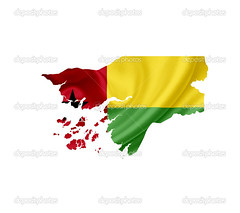 Map of Guinea Bissau with waving flag isolated on white (mucciniale@gmail.com) Tags: administrative atlas backdrop background border boundary cartography chart color contour country cut destination detailed digital east editable europe flag geography glossy grunge graphic graphical icon illustration isolated land language line map middle national official outline republic shape sign silhouette state symbol template tourism travel vector white vintage design guineabissau waving