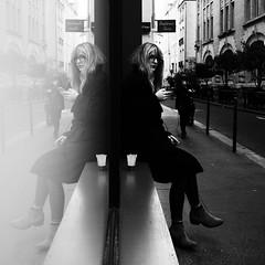 morning coffee Paris (Dan-Schneider) Tags: streetphotography street blackandwhite bw human mft monochrome reflection mirror olympus omdem10 decisive moment people