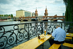 Berlin, Germany (Mark Waldron) Tags: berlin germany river spree oberbaum brucke bridge beer 28mm nikkorh f35 sony a7