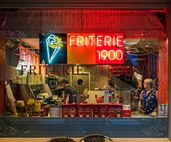 Frites since 1900 ( Market Square - Bruges) (Olympus OM-D EM5II & mZuiko 17mm f1.8 Prime) (1 of 1) (markdbaynham) Tags: belgium bruges brugge bruggen street urban metropolis westflanders city historic flemish olympus omd em5 em5ii csc mirrorless evil mft m43 m43rd micro43 micro43rd zuikolic mzuiko zd mz window food frites famous 17mm f18 prime colour