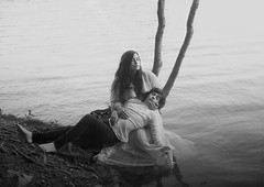 Mother And Son (Maren Klemp) Tags: fineartphotography fineartphotographer selfportrait son boy kid child parenthood motherhood water ocean tree nature outdoors conceptual portrait blackandwhite monochrome dreamy mother naturallight symbolic art darkart