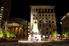 Maisonneuve (cec403) Tags: city urban canada monument night lights quebec montreal oldmontreal placedarmes vieuxmontreal maisonneuve pauldechomedey canonxsi