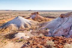 Australia (john white photos) Tags: blue red sky rock desert flat hill dry australia painteddesert colored outback remote southaustralia breakaways cooberpedy