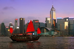 Symbol of Hong Kong -- 华灯初上之香港 (CharlieBrown8989) Tags: blue sea sky buildings hongkong boat yahoo flickr transport picasa philips best charliebrown8989