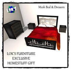 Lok's Homestuff Gift Mesh Bed and Dressers with frame (Sera Lok) Tags: secondlife homestuff freefurniture