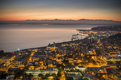 Seattle at Night (Brock Whittaker Photography) Tags: seattle city sunset by clouds landscape photography lights washington nikon cityscape photographer accident space sony needle brock serene tacoma 24mm tilt f28 cirrus teenage c3 whittaker nex
