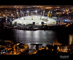 O2 Dome (esslingerphoto.com (back in London)) Tags: uk longexposure greatbritain bridge light england reflection london thames architecture night canon reflections river eos lights evening canal europe exposure nightshot capital greenwich o2 architectural single dome nightshots canarywharf esslinger esslingerphotocom esslingerphoto