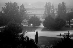 Niebla en el parque (bizen99) Tags: parque blackandwhite bw blancoynegro bn zaragoza sombras niebla figura vivitar28mmf25 sonynex5n