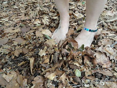 Barefoot walk in the woods (basang2012) Tags: feet leaves tattoo female foot woods toes bare jewellery ankle