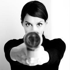 Wilson, Mary Wilson (marywilson's eye) Tags: portrait bw woman white black film blanco self square 50mm mujer eyes nikon 60s gun shot negro retro ojos bond pistola 007 selfie pelcula d90 bsquare marywilson