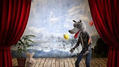 Circus Training (TADA's Revolution) Tags: rabbit animal miniature wolf puppet circus crochet juggling rement amigurumi armature diorama dollhouse stopmotionanimation scaledminiature