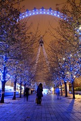 London Eye (al-absi) Tags: christmas xmas uk trees light tree london eye night canon rebel slow wide sigma londoneye shutter