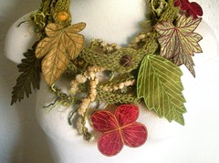 Avocado Green Leaf Scarf with Embroidered Leaves of Red, Yellow Gold, and Green (Betsie Withey) Tags: red motion green art yellow scarf leaf knitting embroidery free textile etsy wearable fiberart