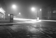 MoNovember 30 - Albert Road in the fog (zawtowers) Tags: road white black monochrome car station fog night train manchester mono driving albert foggy freezing lamps past m19 levenshulme monovember