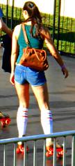roller city ( Straykatt ) Tags: woman cute sexy girl socks legs candid denim shorts